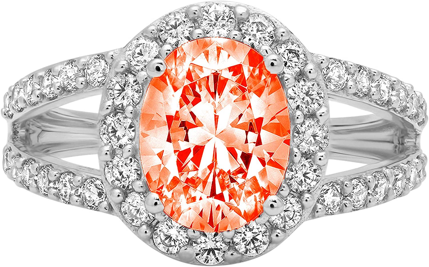 2.24 ct Oval Cut Solitaire Accent Halo split shank Genuine Flawless Red Simulated Diamond Gemstone Engagement Promise Statement Anniversary Bridal Wedding Ring Solid 18K White Gold