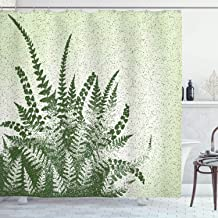 Green Decor Shower Curtain by Ambesonne, Nature Botanic Exotic Plants Aloe Vera Leaves and Grunge Image, Fabric Bathroom Decor Set with Hooks, 70 Inches, Pale Green Olive Green
