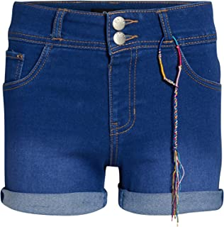DKNY Girls' Soft Touch Stretch Denim Shorts with Two Button Waist