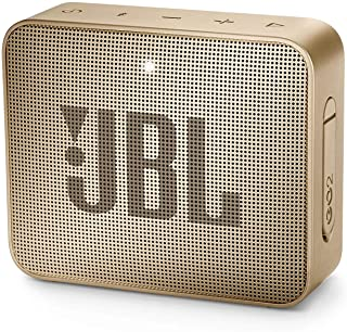 JBL GO2 Portable Bluetooth Speaker with Rechargeable Battery, Waterproof, Built-in Speakerphone, Champagne