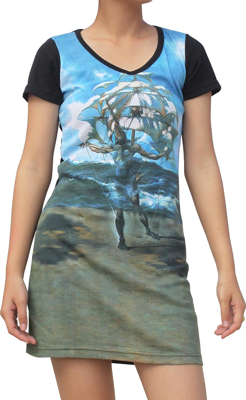 Raan Pah Muang RaanPahMuang Salvador Dali The Ship Black Sleeve Dress