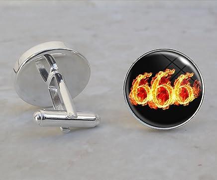 666 Number of the Beast Satan Satanic Satanism .925 Sterling Silver Cufflinks