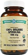 Natural Vitamin Co. - 100% Organic Spirulina 500mg, 100 Tablets, 16 Day Supply, Organic, Gluten Free, Vegetarian, Vegan