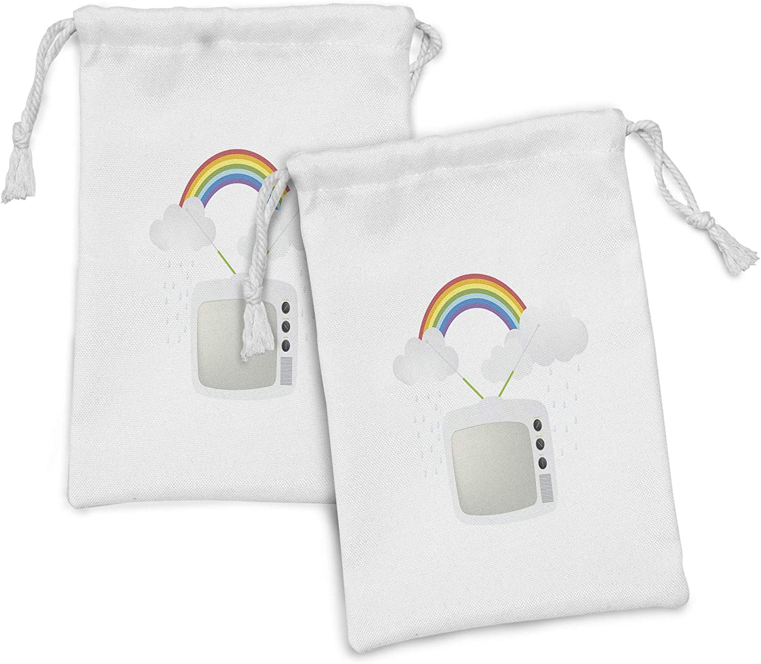 Ambesonne Vintage Max 90% OFF Rainbow Fabric Pouch Now free shipping Set TV of Old Rai with 2