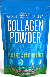 Root Vitality Collagen Powder, Collagen Peptides, Grass Fed, Premium Quality Collagen Protein, Pasture Raised, Easily Dissolves, Keto & Paleo Friendly, Non-GMO, 300 Grams