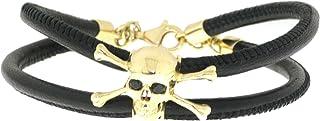 DML | Bracciale Unisex con Teschio in Oro 14 carati, Zirconi Neri e Vera Pelle