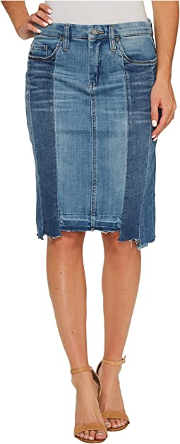Blank NYC Novelty Denim Pencil Skirt with Seaming Detail Contrast of Denim Washes in High and Low
