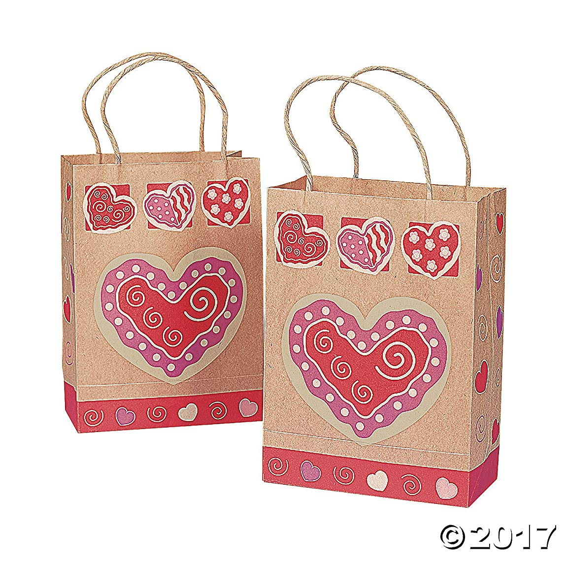 Fun Express 12 Brown Paper Valentine Gift Bags With Heart
