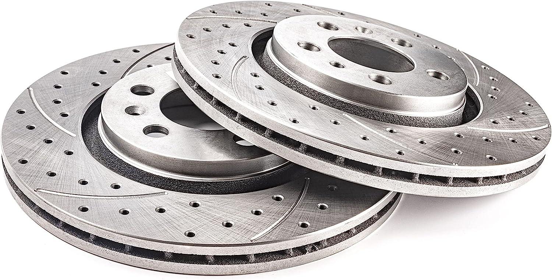 Discos de freno GT Sport compatibles con VW SHARAN I 1995 1996 1997 1998 1999 2000 2001 2002 2003 2004 2005 2006 2007 2008 2009 2010 - 0731GV - trasero - completo - Agujeros 5 diámetro 268x10