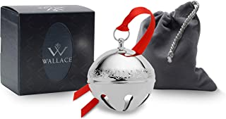 Wallace 5237618 2019 Silver Sleigh Bell-49th (Holly & Ornaments) Plated Christmas Holiday Ornament, 49th Edition