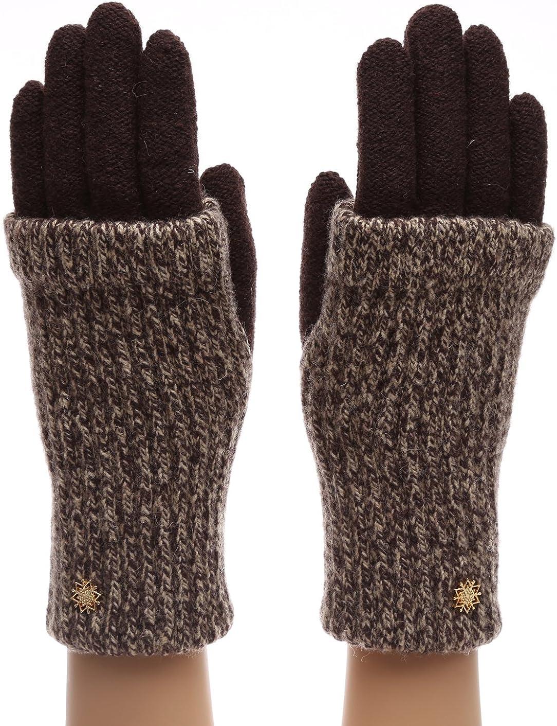 MIRMARU Women's Winter Wool Blend Double Layer Knitted Warm Gloves