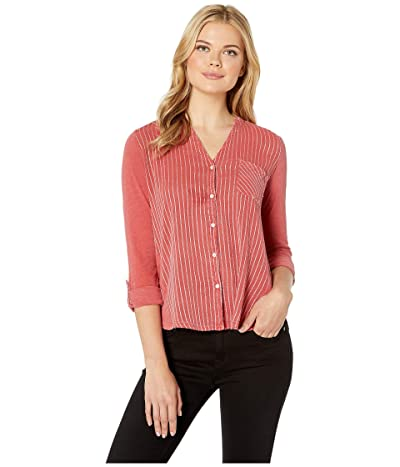 Lucky Brand Gauze Mix Henley Top (Washed Red) Women