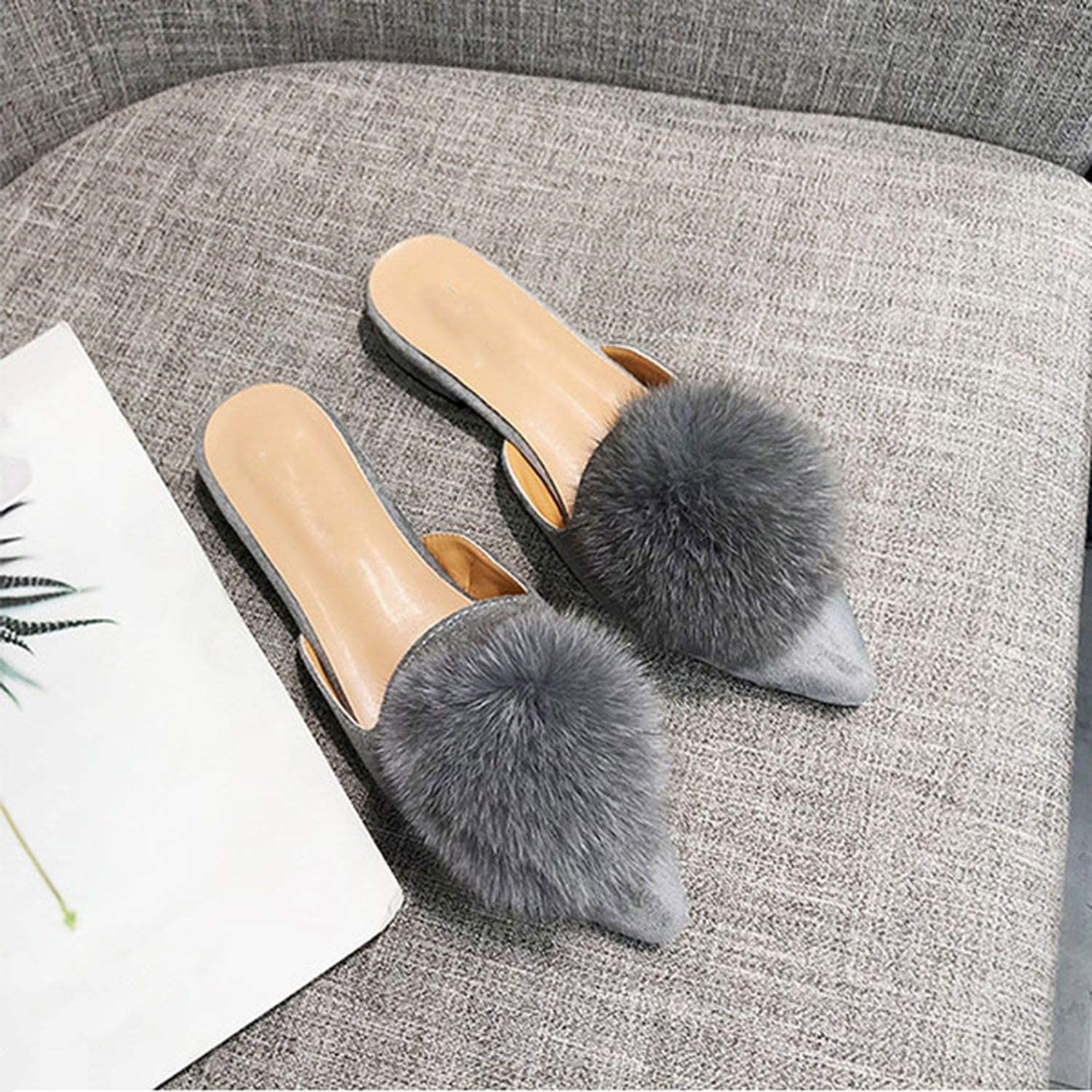 High end shoes Woman 2019 Spring and Autumn Pointed Hair Ball Personality Flat Women's Slippers Plus Size 36-41,