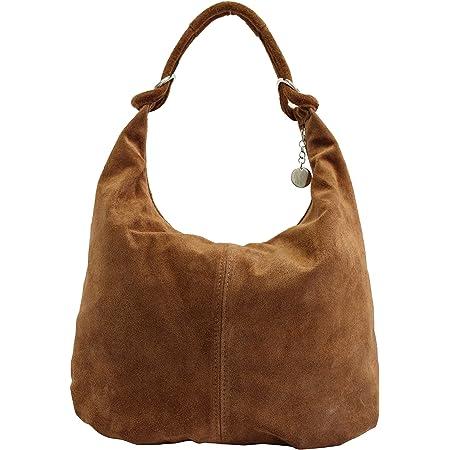 AMBRA Moda Damen Wildleder Schultertasch Damen Handtasche Hobo-Bags Shopper Beuteltaschen Veloursleder Suede Ledertasche WL803