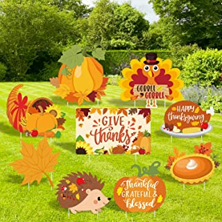 Huray Rayho 9PCS Thanksgiving Yard Signs with Stakes Turkey Yard Decorations Thanksgiving Outdoor Lawn Decor Pumpkin Garde...
