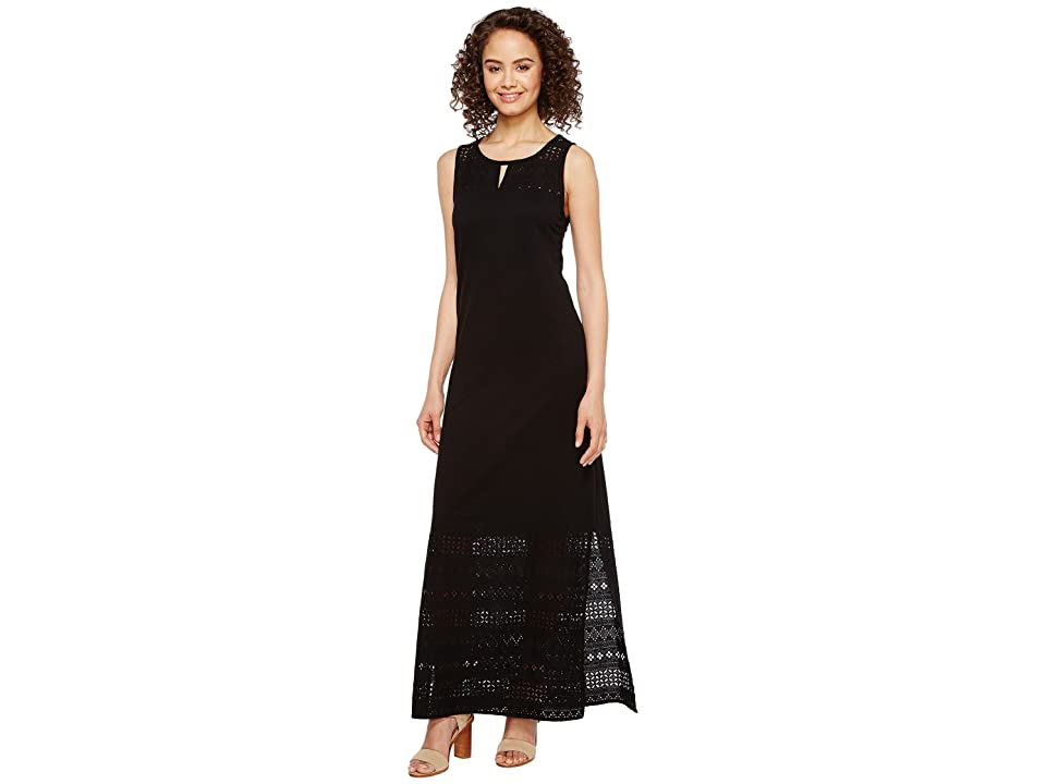 Mod-o-doc Heavier Slub Jersey Tank Maxi Dress with Eyelet Contrast (Black) Women