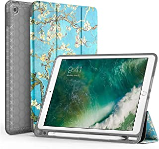 SWEES Compatible iPad 9.7 2018/2017 Case with Pencil Holder, Shockproof Durable Smart Cover Leather Case with Built-in Apple Pencil Holder Compatible iPad 9.7 inch 6th/5th Generation, Blossom
