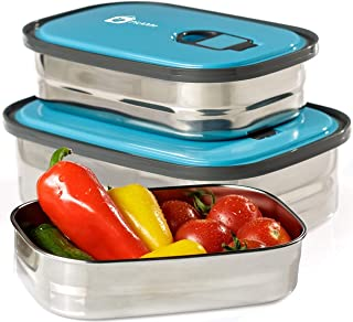Bento Lunch Box Food Container Storage Set 3 In 1. Leak Proof Stainless Steel Can with Lids. Healthy Takeaway - Kids - Adu...