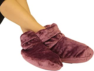 Heated Microwaveable Foot Booties - Herbal Hot/Cold Deep Penetrating Herbal Aromatherapy (Mauve)