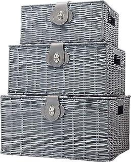 ViDiStorex Set of Three Resin Woven Storage Basket Box with Attached Lid & Lock, White, Large, Medium and Small. Decorativ...