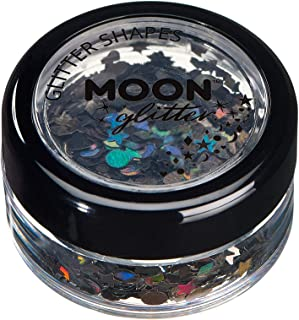 Moon Glitter Holographic Glitter Shapes 100% Cosmetic Glitter for Face, Body, Nails, Hair and Lips - 0.10oz - Black