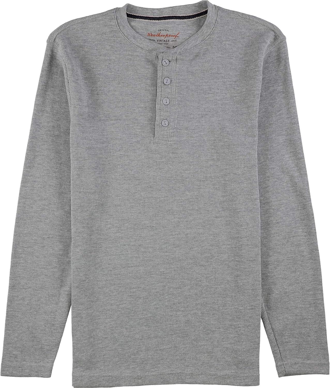 Weatherproof Mens Waffle-Knit Henley Shirt, Grey, Small