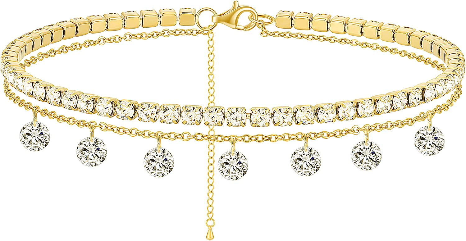 Eyreindy Ankle Bracelets for Women, Layered 14k Gold Plated Diamond, Starfish, Butterfly Anklet for Women