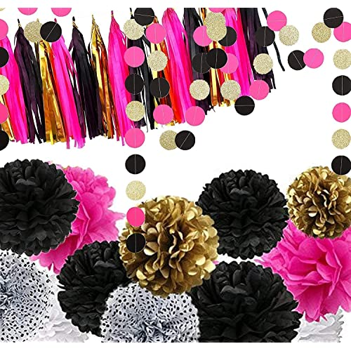 Black Pink And Gold Party Decorations Amazon Com