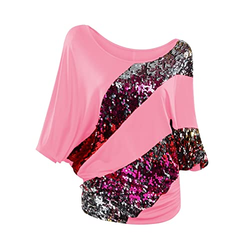 e3770bdf1 Poem&Future Women's Sparkly Sequin Blouse Scoopneck Batwing Sleeve Glittery  Tank Tops Bling Costume T-Shirts