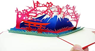 Japanese Theme - 3D Pop Up Greeting Card for All Occasions - Arigato, Thank You, Get Well, Good Luck, Travel, Congratulations - Fold Flat, Envelope Included (Fuji Mountain)