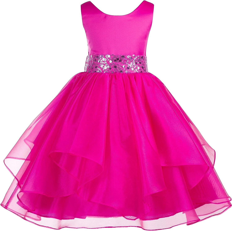 ekidsbridal Asymmetric Ruffled Organza Sequin Flower Girl Dress Princess Dresses 012S 4 Fuchsia