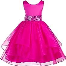 ekidsbridal Asymmetric Ruffled Organza Sequin Flower Girl Dress Toddler Girl Dresses 012S