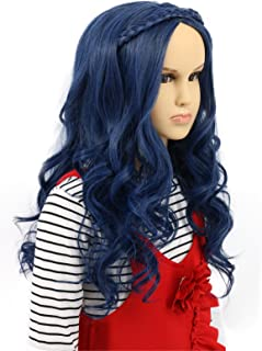 Karlery Child Kids Long Wave Blue Wig Halloween Cosplay Wig Anime Costume Party Wig