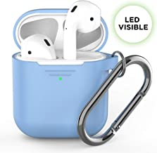PodSkinz AirPods Case [Front LED Visible] Protective Silicone Cover Compatible with AirPods 1 & AirPods 2 (Gen 2) (with Carabiner, Baby Blue)