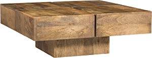 Woodkings® Amberley Coffee Table 80 x 80 cm Mango Wood Natural Rustic Real Wood Solid Wood Exclusive Modern Design Lounge Coffee Table Great Value