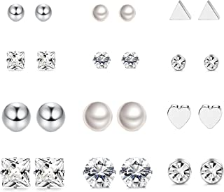 LOYALLOOK 12 Pairs Stainless Steel Earrings Stud Earrings Set for Womens Round Clear CZ Stud