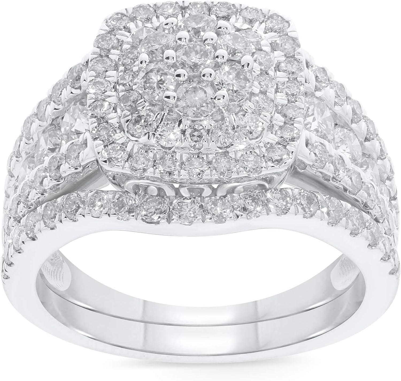 10K White Gold 2 Carat Real Diamond Engagement Ring Wedding Band Bridal Set Fine Diamond Jewelry (2 Carat, H-I Color, I1-SI2 Clarity), Size 7