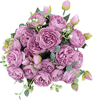 crazylove Silk Peony Artificial Purple Flowers Bouquet Small Pieces Design for Home Wedding Decoration Indoor (4 Pack, Purple)