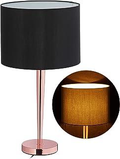 Relaxdays Mesa Grande con Cable, Casquillo E27, Elegante lámpara de Pantalla, 64 x 35 cm, Color Negro/Cobre