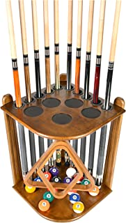 Cue Rack Only - 10 Pool - Billiard Stick & Ball Floor Rack - Holder Choose Mahogany, Black or Oak Finish