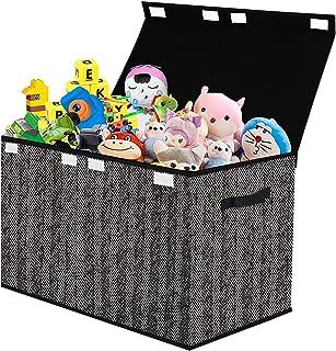 Coffre à jouets avec couvercle - Rangement pliable pour jouets, vêtements, livres, penderie, chambre d'enfant - Noir