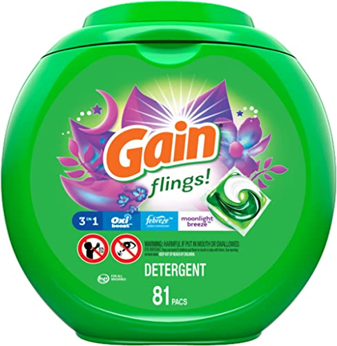 Gain Flings Moonlight Breeze Laundry Detergent Packs, 81 Count - New Model, Gain Flings Moonlight Breeze Laundry Pacs...