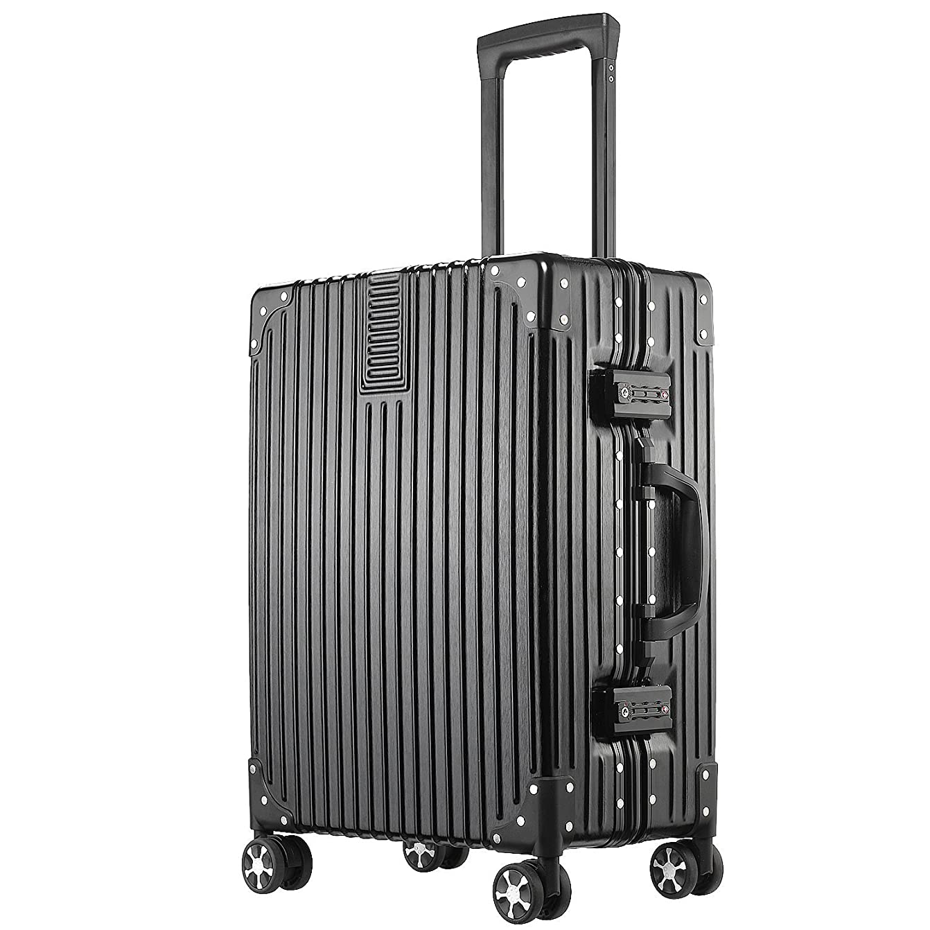 意図毎回決定する(アスボーグ)ASVOGUE スーツケース キャリーケース 半鏡面仕上げ アライン加工 アルミフレーム レトロ 旅行 出張 軽量 静音 ファスナーレス 機内持込可 保護カバー付き