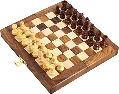 ENSEMBLE DE 18 - Handcrafted en bois pliant Chess Magnetic ensemble - Bois Jeux de Voyage - 7  x 3,5  - Grands cadeaux pour enfants et adultes