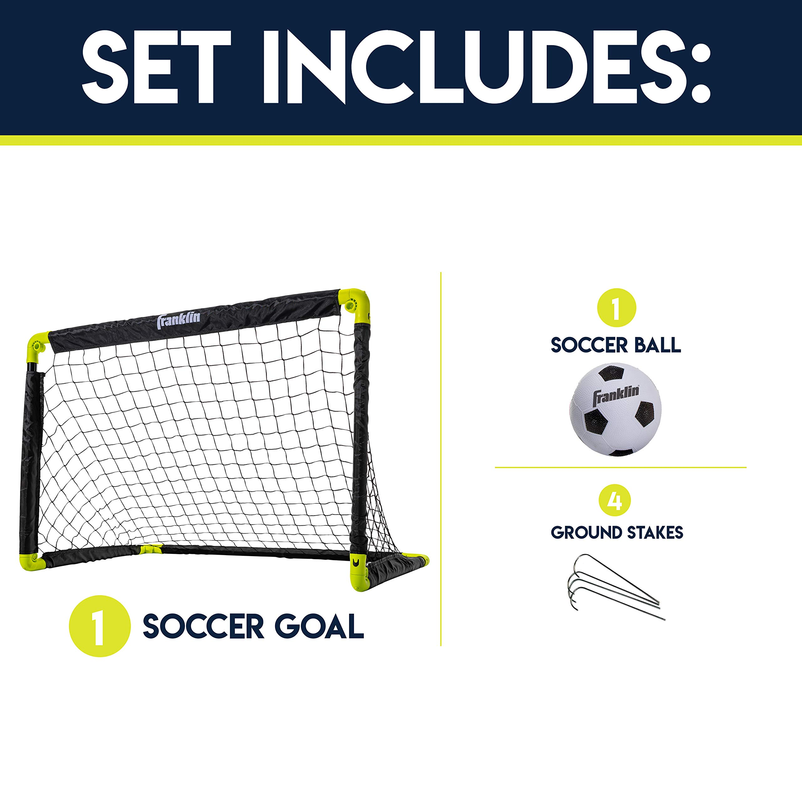 Franklin Sports Kids Mini Soccer Goal Set Backyard Indoor Mini Net And Ball Set With Pump Portable Folding Youth Soccer Goal Set 36 X 24 Amazon Sg Sports Fitness Outdoors