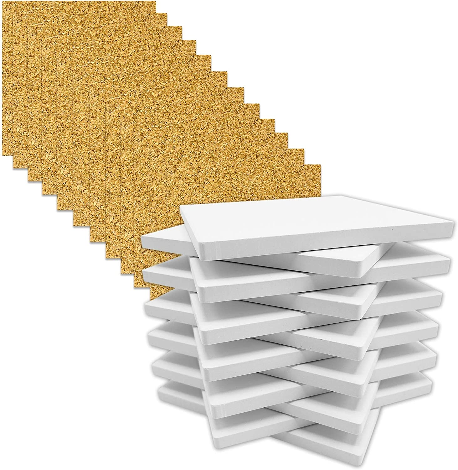 Raleigh Mall Coaster Tile Craft Kit Set Max 86% OFF of Matte 12 Smooth Ceramic Un-Glazed