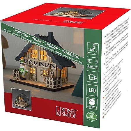"""Konstsmide Casa de madera LED """"Christmas Scene"""" con techo gris luz de Navidad / uso interior (IP20)/4 diodos blancos cálidos/funciona con pilas: 3 x AA 1,5 V (excl.)"""