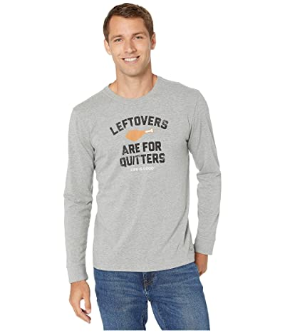 Life is Good Leftovers Are For Quitters Long Sleeve Crusher Tee (Heather Gray) Men