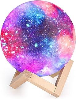 Lampe Lune 3D, Veilleuse LED Lampe Lune Tactile 16 Couleurs, 15cm Diamètre, USB Rechargeable Veilleuse Lune pour Chambre S...