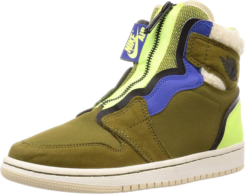 AIR JORDAN Women's Air 1 High Zip Up Sneaker (7.5 M US, Olive Flak/Black-Volt Glow)